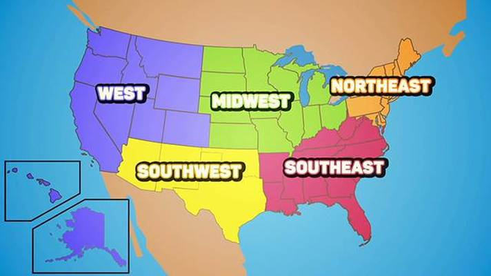 Us 5 regions map regions of the us youtube sciox Image collections